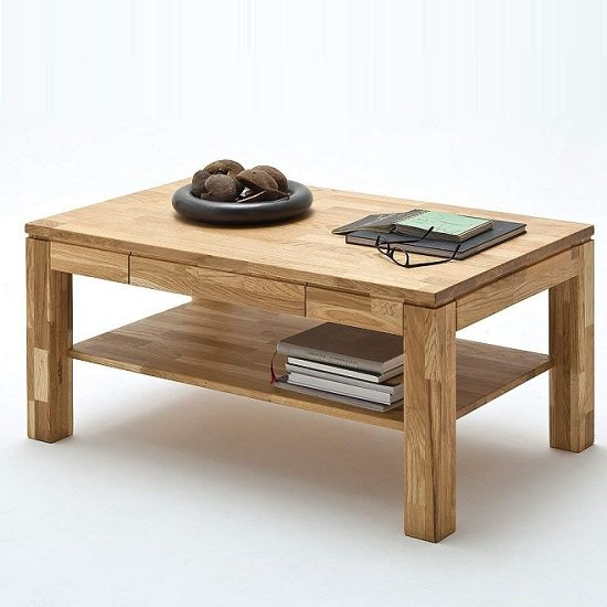 Cambridge Wooden Coffee Table Rectangular In Knotty Oak