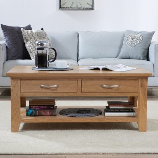 Cambroad Wooden Coffee Table In Oak With 2 Drawers