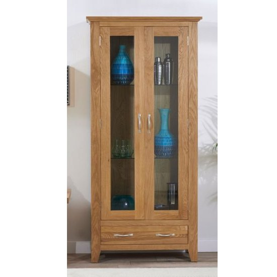 Cambroad Wooden Display Cabinet In Oak With 2 Doors 2 Drawers_1