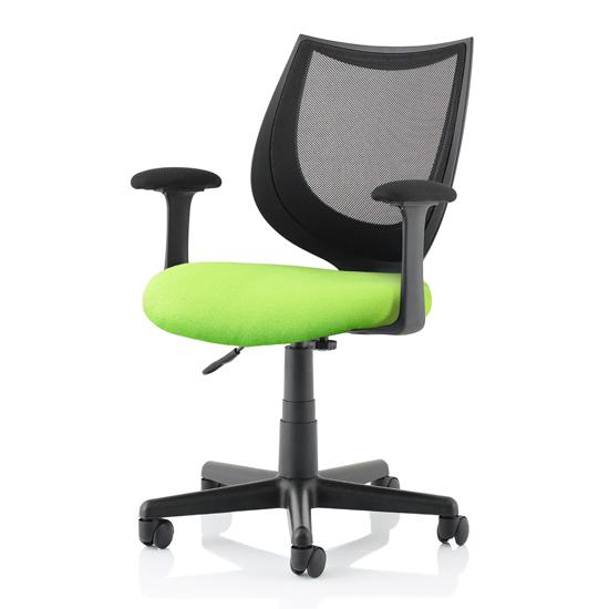 View Camden black mesh office chair with myrrh green seat