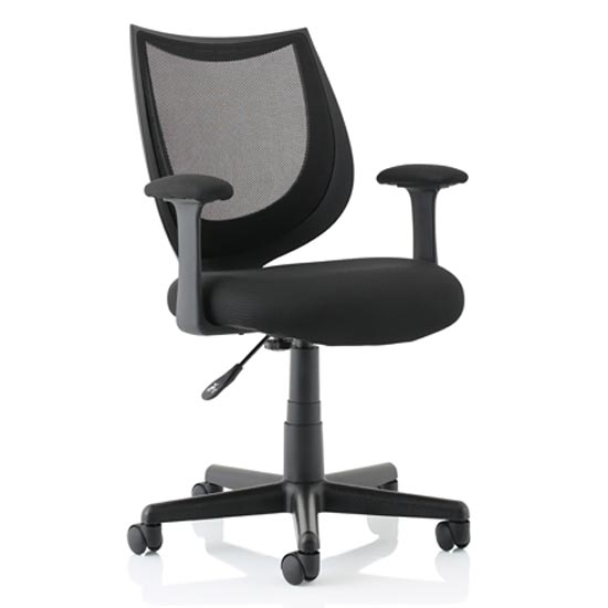 Camden Fabric Mesh Office Chair In Black With Fixed Arms