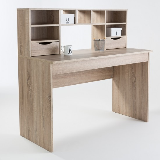 Read more about Camden wooden computer desk in light oak with 2 drawers