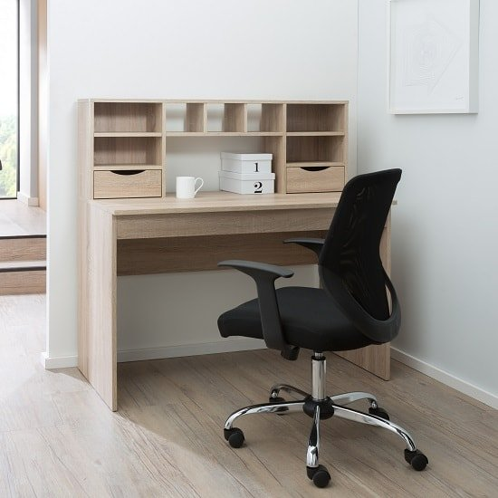Camden Wooden Computer Desk In Light Oak With 2 Drawers_4