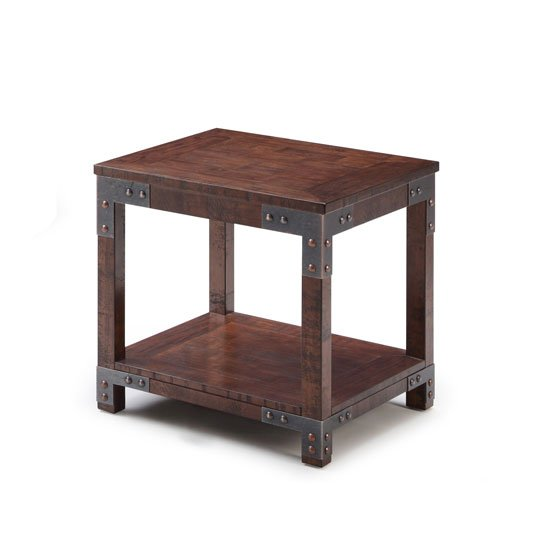 Camden Wooden End Table In Birch Veneer With Metal Accents