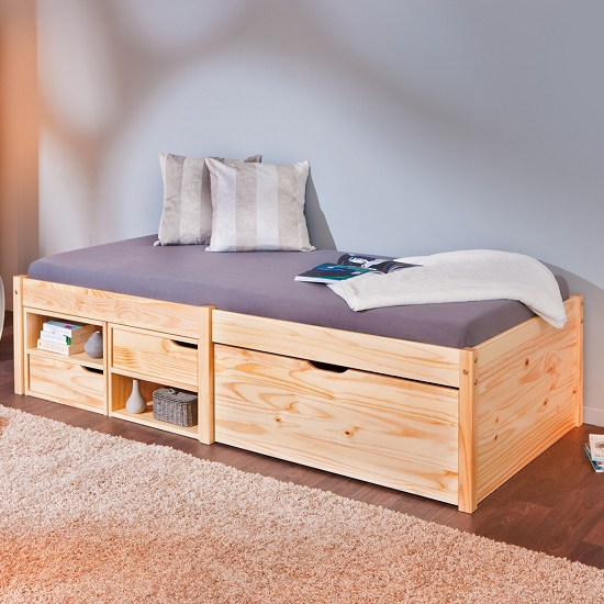 Camden Storage Bed In Natural With 2 Drawers And Pullout Cabinet_1