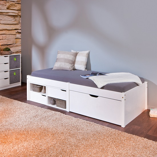 Read more about Camden storage bed in white with 2 drawers and pullout cabinet