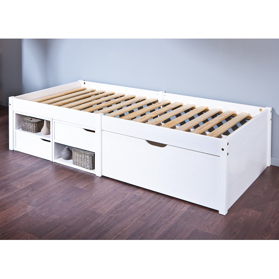 Camden Storage Bed In White With 2 Drawers And Pullout Cabinet_2