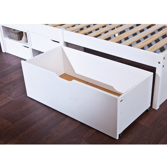 Camden Storage Bed In White With 2 Drawers And Pullout Cabinet_3