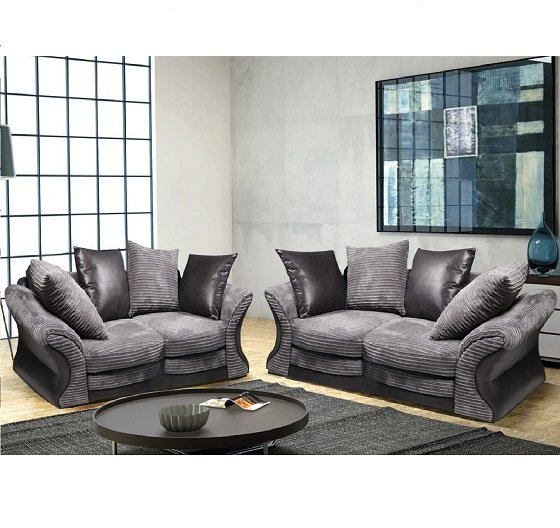Read more about Camden fabric sofa suite 3 and 2 seater grey and black