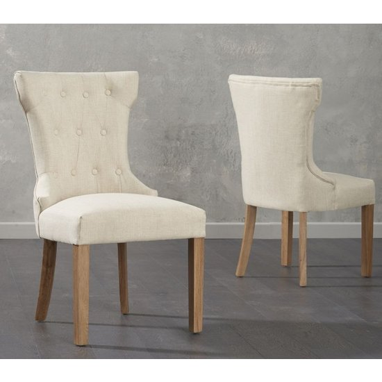 Camelopardalis Beige Fabric Dining Chairs In Pair