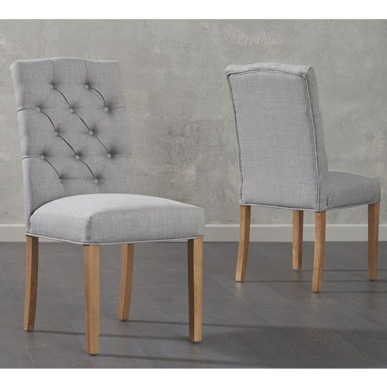 Camelopardalis Grey Fabric Dining Chairs In Pair