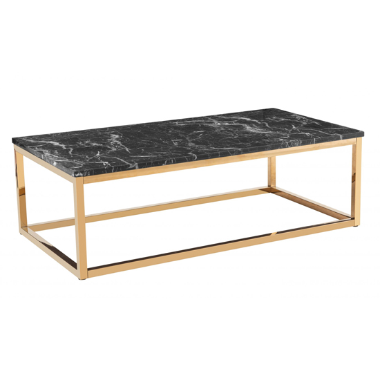 Camelot Marble Effect Wooden Coffee Table With Gold Metal Legs_1