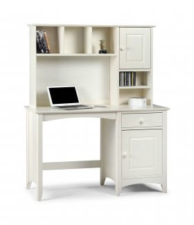 Amani Computer Desk and Hutch Top in Stone White