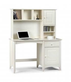 Amani Computer Desk and Hutch Top in Stone White