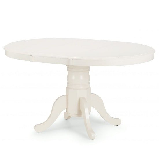 Cameo Wooden Extendable Dining Table In Ivory Lacquered