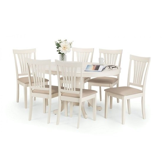 Cameo Extendable Dining Table Set Ivory Lacquered And 6