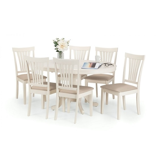 Cameo Extendable Dining Table Set Ivory Lacquered And 4 Chairs 2 c7bc4b5fe