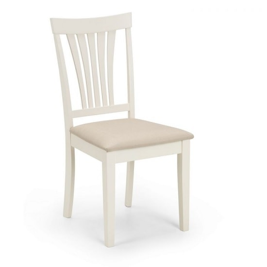 Cameo Dining Chair In Taupe Linen Effect Seat With Ivory Finish