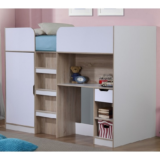 Cameo Children High Sleeper Bed In White And Oak With Storage_1