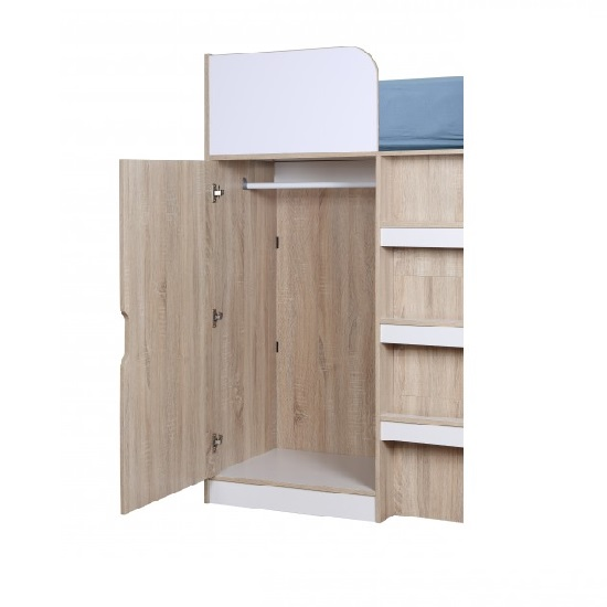 Cameo Children High Sleeper Bed In White And Oak With Storage_3