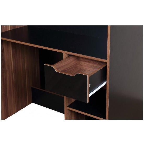 Cameo Children High Sleeper Bed In Walnut And Black With Storage_4