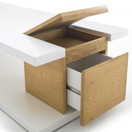 Storage Furniture Coffee Table White Closetmaid: Cameron Wooden Storage Coffee Table In White And Knotty Oak
