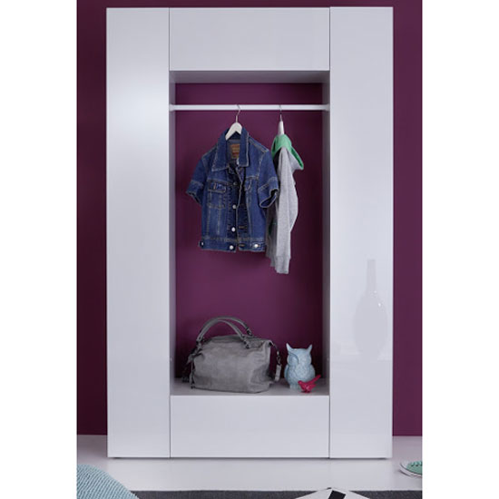Cameron Hallway Stand In White With High Gloss Front And 2 Doors_3