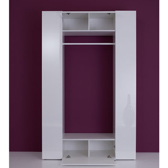 Cameron Hallway Stand In White With High Gloss Front And 2 Doors_2