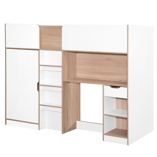 Camila Wooden High Sleeper Bed In Light Oak And White_2