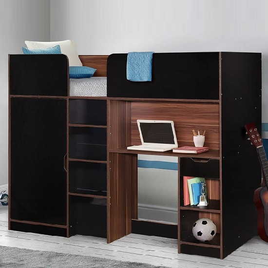 Camila Wooden High Sleeper Bed In Walnut And Black