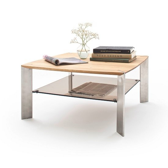 Camilla Wooden Coffee Table Square In Knotty Oak With Metal Legs_2