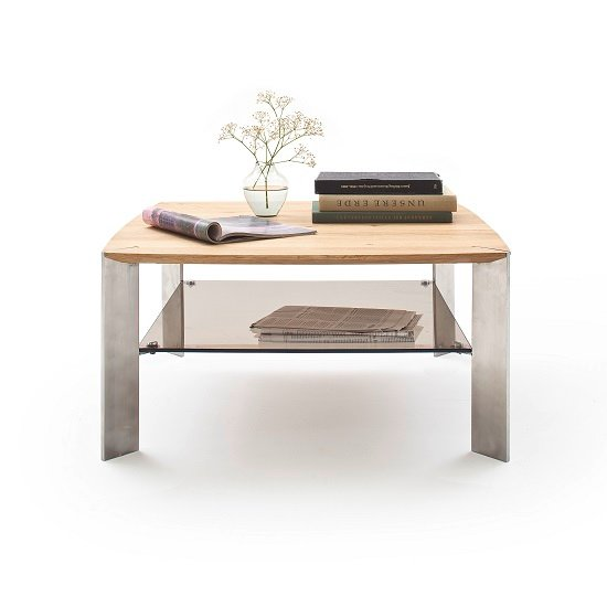 Camilla Wooden Coffee Table Square In Knotty Oak With Metal Legs_3