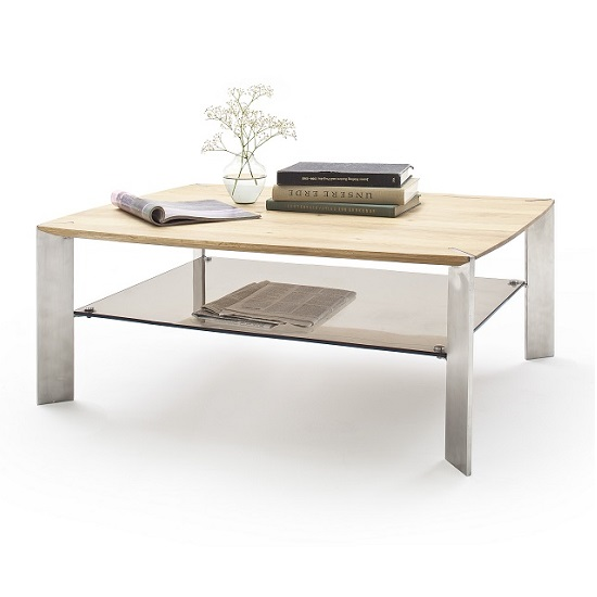 Camilla Wooden Coffee Table In Knotty Oak With Metal Legs