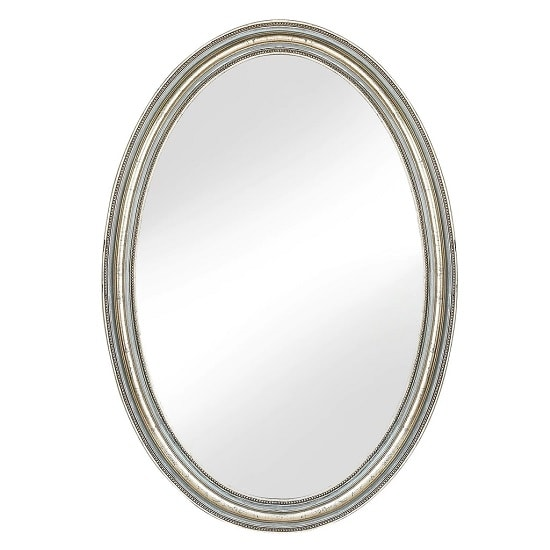 Camille Wall Mirror Oval In White Wash With Blue Touch