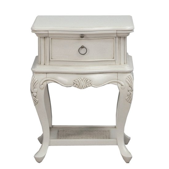 Camille Wooden Bedside Table In Antique Grey