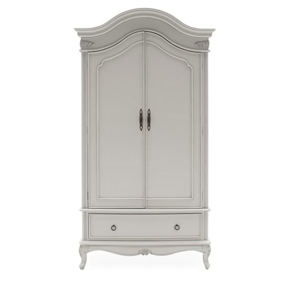 Camille Wooden Wardrobe In Antique Grey With 2 Doors 1 Drawer