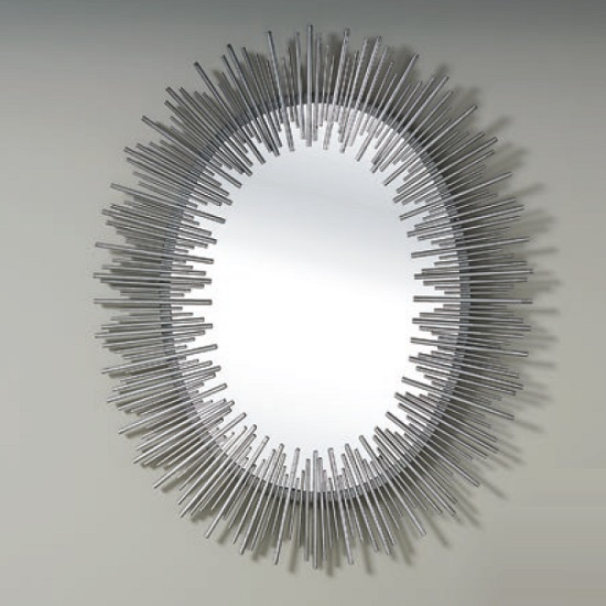 Camino Contemporary Wall Mirror Oval In Silver
