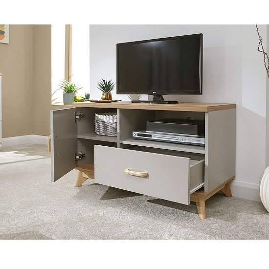 Camlian Small Wooden TV Stand In Grey_2