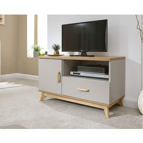 Camlian Small Wooden TV Stand In Grey_1