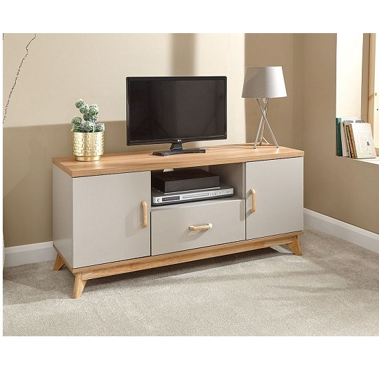 Photo of Camlian large wooden tv stand in grey