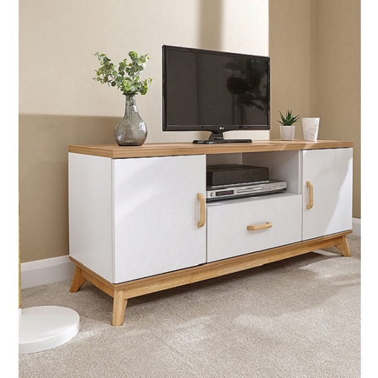 Camlian Large Wooden TV Stand In White