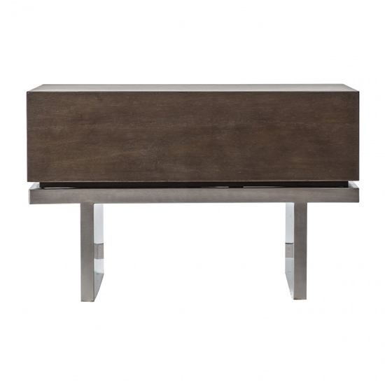 Camou Wooden 1 Drawer Side Table With Silver Metal Base