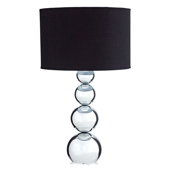 Camox Black Fabric Shade Touch Table Lamp With Chrome Base