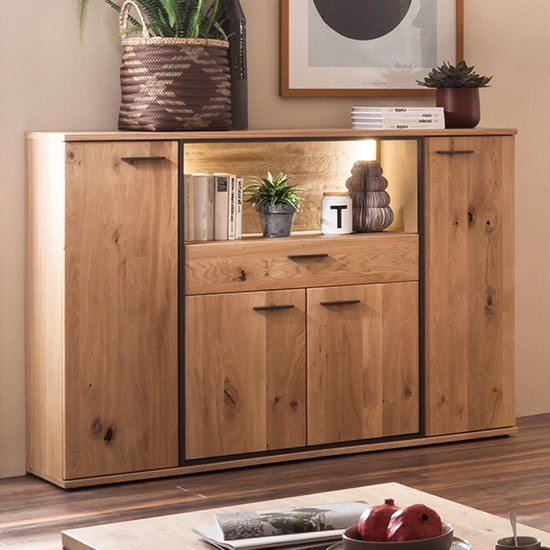 Campinas LED Highboard In Knotty Oak With 4 Doors 1 Drawer