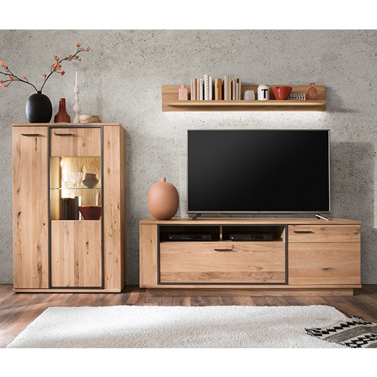 Campinas LED Living Room Set In Knotty Oak With Display Unit