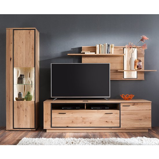 Campinas LED Living Room Set In Knotty Oak With Shelf Unit