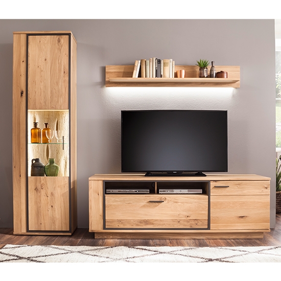 View Campinas led living room set in knotty oak with tv stand