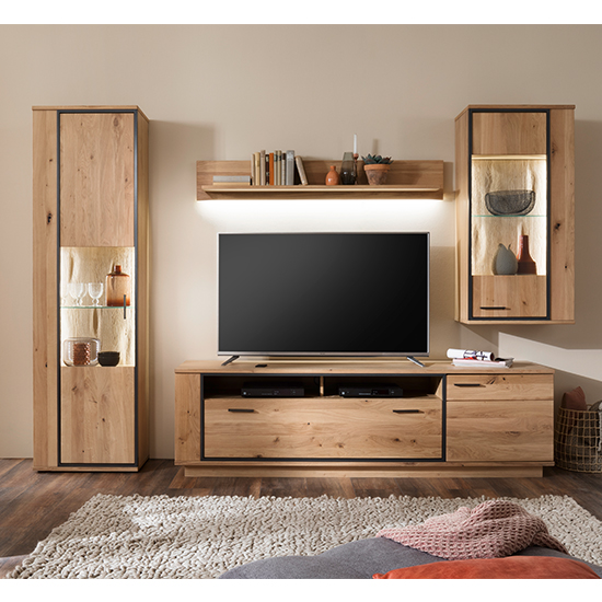Campinas LED Living Room Set In Knotty Oak With Wall Shelf