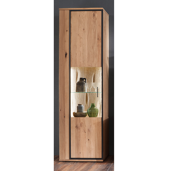 Campinas LED Wooden Display Cabinet In Knotty Oak With 1 Door