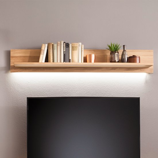 Campinas LED Wooden Wall Shelf In Knotty Oak